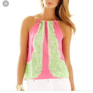 Lily Pulitzer pink and green Tank with gold chain